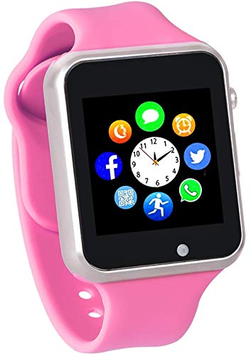 Funntech Smart Watch for Kids with Pedometer Bluetooth Unlocked 2G GSM Phone Call 1.54 Inch Touchscreen Camera, Rosy