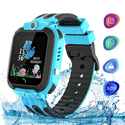 Themoemoe Kids Smartwatch Phone, Kids Waterproof Smart Watch Phone GPS Tracker with SOS Two Way Call for 3-12 Year Old Boys Girls Gift (Blue)
