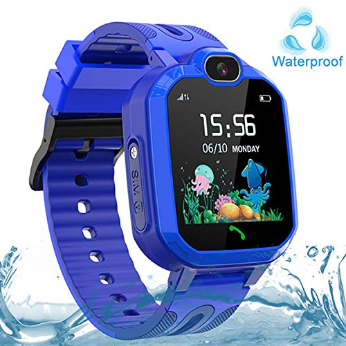 Kids Smart Watch Waterproof, GPS/LBS Tracker SOS Call Smartwatch Phone for Kids 3-12 Year Old Boys Girls with Two-Way Call Touch Screen Voice Chat Game Flashlight for Birthday Christmas (Blue)