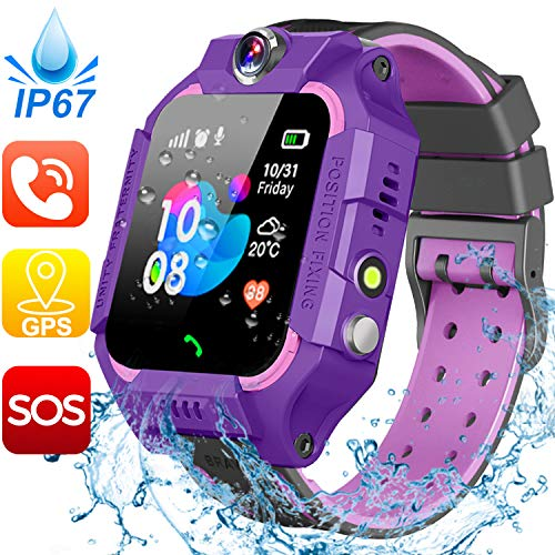 Waterproof Kids Smart Watch-GPS Tracker Smartwatch Phone for Boys Girls -Smart Watch with SIM Card Slot SOS Games Touch Digital Wrist Watch Holiday Toys Birthday Gifts (Purple)