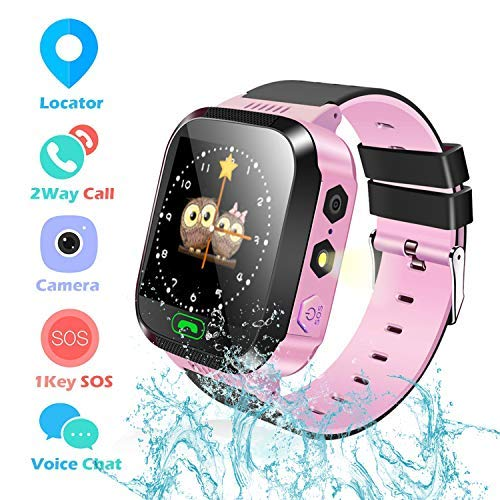 Kids Smartwatch for Boys and Girls Children GPS Touch Phone Wrist Watch with 1.44' Touch Screen and Anti-Lost SOS Call GPS LBS Locator Smartwatch for Kids Gift, Compatible with iOS & Android(Pink)…………