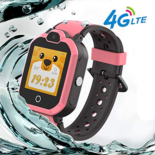 9Tong Waterproof Tracker Phone Watches Kids Video Calls Kid Smart Watch Bluetooth GPS Smart Watch Children Anti-Lost SOS 4G Watch Camera for Girls Boys
